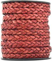 Pink Fuchsia Natural Dye Flat Braided Leather Cord 5 mm 1 Yard