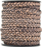 Gray Distressed Natural Dye Flat Braided Leather Cord 5 mm 1 Yard