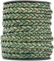 Desert Green Natural Dye Flat Braided Leather Cord 5 mm 1 Yard