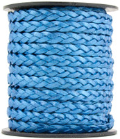 Blue Metallic Flat Braided Leather Cord 5 mm 1 Yard