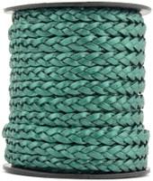 Turquoise Metallic Green Flat Braided Leather Cord 5 mm 1 Yard
