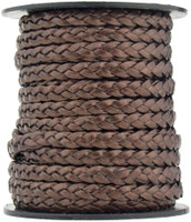 Brown Metallic Flat Braided Leather Cord 5 mm 1 Yard
