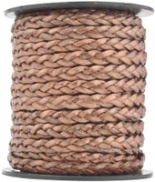 Copper Metallic Flat Braided Leather Cord 5 mm 1 Yard
