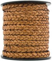 Tan Natural Dye Flat Braided Leather Cord 5 mm 1 Yard