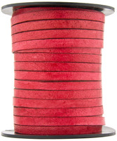 Red Natural Dye Flat Leather Cord  5 mm 1 Yard