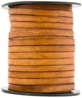 Brown Distressed Light Flat Leather Cord  5 mm 1 Yard