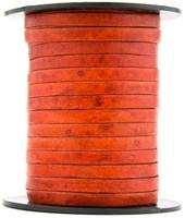 Orange Natural Dye Flat Leather Cord  5 mm 1 Yard