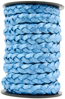 Blue Metallic Flat Braided Leather Cord 10 mm 1 Yard