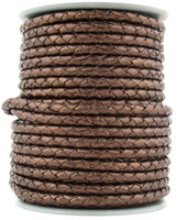 Brown Metallic Round Bolo Braided Leather Cord 4 mm 1 Yard