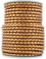 Bronze Metallic Round Bolo Braided Leather Cord 4 mm 1 Yard