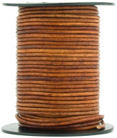 Brown Distressed Light Round Leather Cord 1.0mm 100 meters