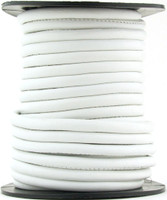 White Nappa Stitched Round Leather Cord 4 mm 1 Yard