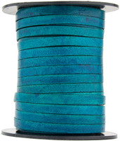 Turquoise Natural Dye Flat Leather Cord  5 mm 1 Yard