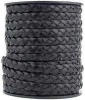 Black Flat Braided Leather Cord 5 mm 1 Yard