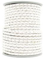 White Round Bolo Braided Leather Cord 3 mm 1 Yard