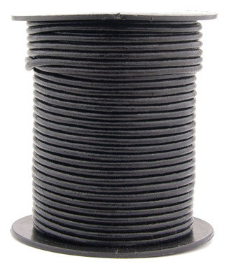 Black Round Leather Cord 3.0mm 10 Feet
