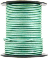 Mint Metallic Round Leather Cord 1.0mm 100 meters