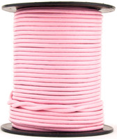 Baby Pink Round Leather Cord 2mm 50 meters