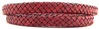 Red Natural Dye Flat Braided Bracelet Leather Cord 8 mm