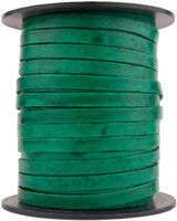 Sea Green Natural Dye Flat Leather Cord 5 mm 1 Yard