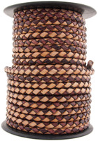 Cottonmouth Round Bolo Braided Leather Cord 5 mm 1 Yard