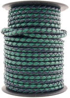 Navy Green Round Bolo Braided Leather Cord 4 mm 1 Yard