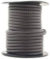 Dark Gray Nappa Stitched Round Leather Cord 4 mm 1 Yard