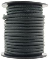 Dark Green Nappa Stitched Round Leather Cord 4 mm 1 Yard