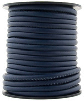 Navy Blue Nappa Stitched Round Leather Cord 4 mm 1 Yard