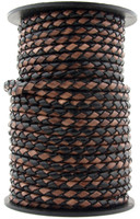 Black & Brown Round Bolo Braided Leather Cord 3 mm 1 Yard