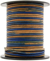Blue Three Tone Round Leather Cord 2.0mm 25 meters