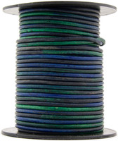Kinte Blue Round Leather Cord 1.0mm 10 Feet