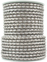 Silver Metallic Round Bolo Braided Leather Cord 3 mm 1 Yard