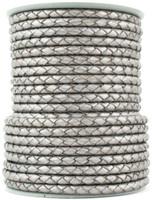 Silver Metallic Round Bolo Braided Leather Cord 4 mm 1 Yard