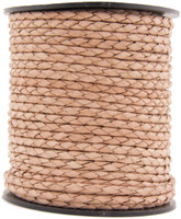 Natural Round Bolo Braided Leather Cord 4 mm 1 Yard