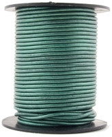 Turquoise Metallic Round Leather Cord 1.5mm 25 meters