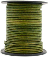 Green Moss Round Leather Cord 1.0mm 50 meters