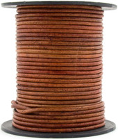 Brown Rust Round Leather Cord 3.0mm 25 meters