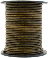 Vintage Olive Green Round Leather Cord 3.0mm 10 Feet