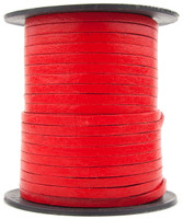 Red Flat Leather Cord 3mm 1 Yard