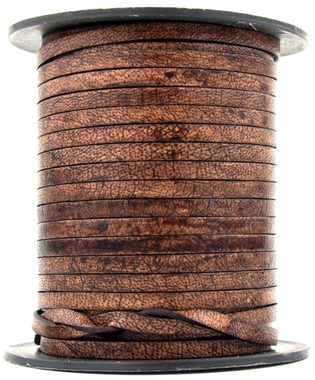 Distressed Brown Natural Flat Leather Cord 3mm 1 Yard