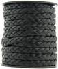 Black Natural Flat Braided Leather Cord 5 mm 1 Yard