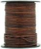Brown Distressed Round Leather Cord 2.0mm 10 meters
