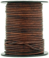 Brown Distressed Round Leather Cord 2.0mm 25 meters