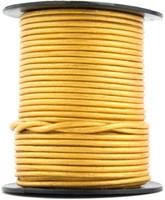 Gold Metallic Round Leather Cord 2.0mm 10 Feet