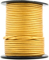 Gold Metallic Round Leather Cord 2.0mm 100 meters