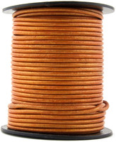 Orange Metallic Round Leather Cord 1.0mm 100 meters