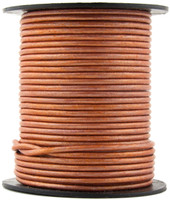 Copper Metallic Light Round Leather Cord 1.0mm 10 Feet