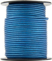 Blue Metallic Round Leather Cord 1.0mm 10 meters (11 yards)