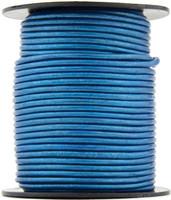 Blue Metallic Round Leather Cord 2.0mm 10 Feet